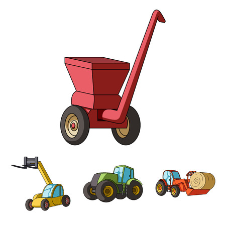 Tractor, hay balancer and other agricultural devices. Agricultural machinery set collection icons in cartoon style vector symbol stock illustration web.