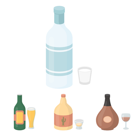 Tequila, cognac, beer, vodka.Alcohol set collection icons in cartoon style vector symbol stock illustration web.