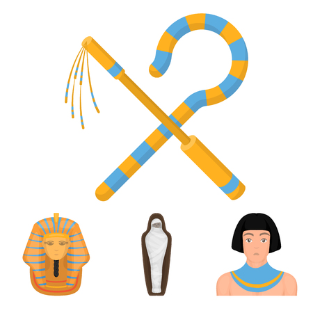 Crook and flail, a golden mask, an Egyptian, a mummy in a tomb. Ancient Egypt set collection icons in cartoon style vector symbol stock illustration web. Ilustração