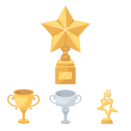 Silver cup for the second place, gold stars on the stand, a cup with a star, a gold cup. Awards and trophies set collection icons in cartoon style vector symbol stock illustration web.