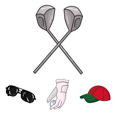 A glove for playing golf with a ball, a red cap, sunglasses, two clubs. Golf Club set collection icons in cartoon style vector symbol stock illustration web.