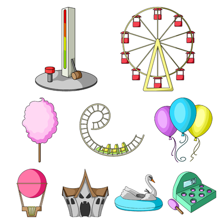 The amusement Park rides. The attributes of a recreational Park, panic room, cotton candy.  Amusement Park icon in set collection on cartoon style vector symbol stock illustration.
