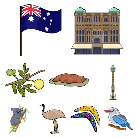 National symbols of Australia. Web icon on Australia theme. Australia icon in set collection on cartoon style vector symbol stock illustration.