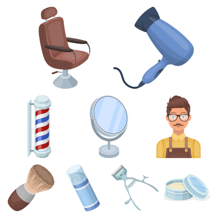Male barber, symbol, clipper and other equipment for hairdressing. Barbershop set collection icons in cartoon style vector symbol stock illustration web.