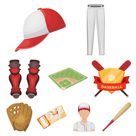 Ball, helmet, bat, uniform and other baseball attributes. Baseball set collection icons in cartoon style vector symbol stock illustration web.