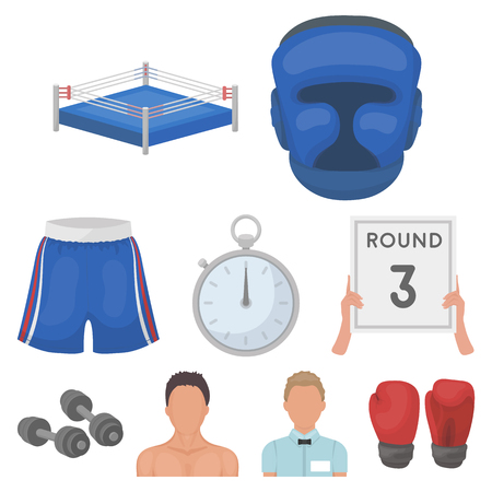 Conjunto de iconos de boxeo en estilo de dibujos animados. Gran colección de boxeo símbolo del vector stock photo