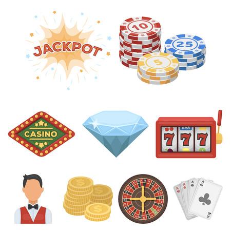 기호 카지노 게임의 집합입니다. 돈 도박. 칩, 도미노, 카지노. 카지노 및 도박 아이콘 집합에 만화 스타일 벡터 기호 재고 웹 그림입니다.