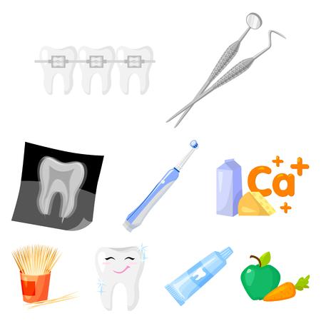 Dental care set icons in cartoon design. Illustration