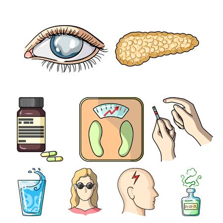 A set of icons about diabetes mellitus.