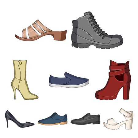 A set of icons on a variety of shoes.