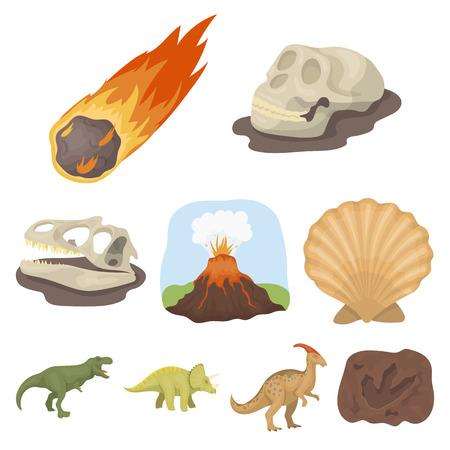 Alte ausgestorbene Tiere und ihre Spuren und Reste. Illustration