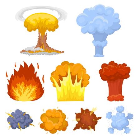 爆発についてアイコンのセット。様々 な爆発、煙と火の雲。漫画イラスト ベクトル シンボル ストック web の設定コレクションの爆発アイコン。  イラスト・ベクター素材