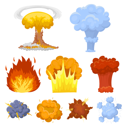 A set of icons about the explosion. Various explosions, a cloud of smoke and fire.Explosions icon in set collection on cartoon style vector symbol stock web illustration.