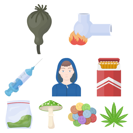 éxtasis: Drogas conjunto de iconos de estilo de dibujos animados. Gran colección de vector de drogas símbolo de la acción
