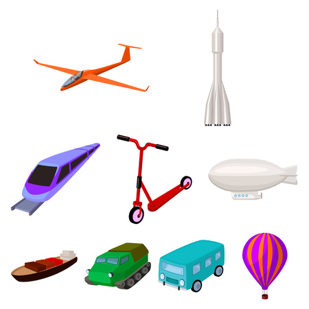 lorry: Set of pictures about types of transport. Transportation of people, cargo. Ground, underwater, air transport. Transport icon in set collection on cartoon style vector symbol stock illustration.