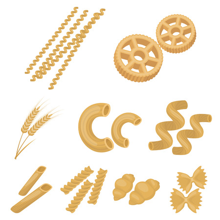 Types of pasta set icons in cartoon design. Big collection of types of pasta vector symbol stock illustration.