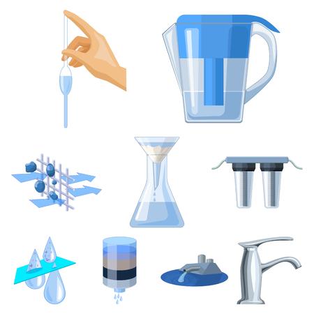水のテーマのアイコンのセットです。水は、世界で最も重要です。水ろ過アイコン漫画スタイルのベクトル シンボル ストック イラストをセットの