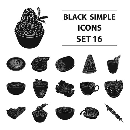 Juice, pizza, berries are vegetarian dishes.Vegetarian Dishes set collection icons in black style vector symbol stock illustration . Illustration