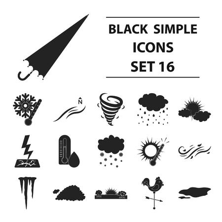 날씨 검은 스타일 아이콘을 설정합니다. 날씨 벡터 기호 주식의 큰 컬렉션