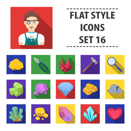 Precious minerals and jeweler set icons in flat design. Big collection of precious minerals and jeweler vector symbol stock illustration