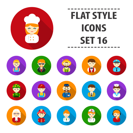 Proffesion set icons in flat style. Big collection proffesion vector symbol stock illustration