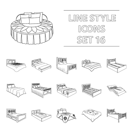A bed with a back, round, curved and other kinds of the goods. Beds set collection icons in outline style vector symbol stock illustration .