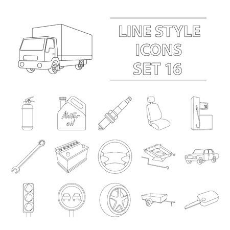prohibiting: Wheel, wrench, jack and other equipment. Car set collection icons in outline style vector symbol stock illustration . Illustration