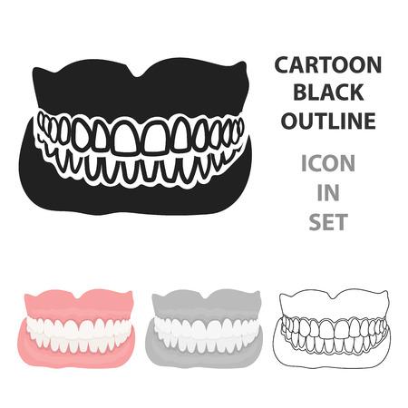 Set jaw icon in cartoon style illustration.
