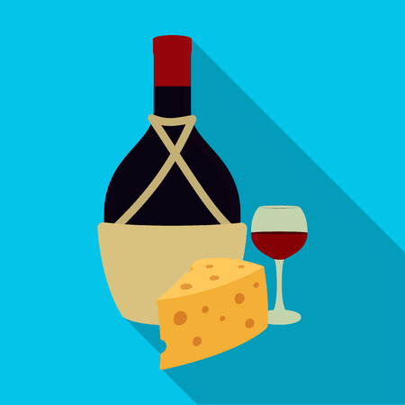 A bottle of alcohol, wine glass and cheese icon.