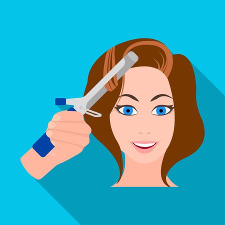 그녀의 머리카락을 컬링하는 소녀 그림.