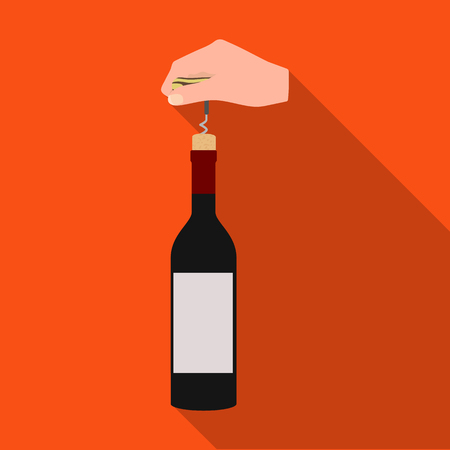 screwing: Opening the bottle with a corkscrew. Manipulation with a corkscrew single icon in flat style vector symbol stock illustration .