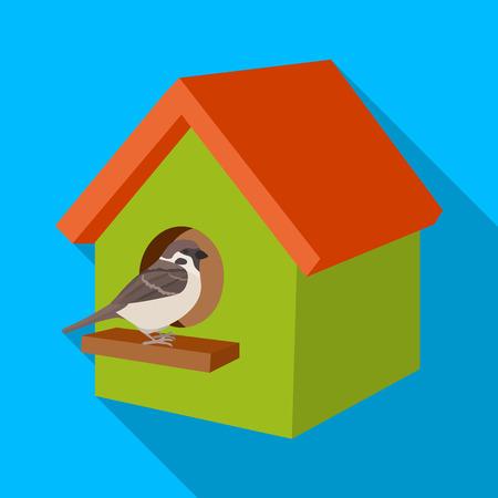 Birdhouse, single icon in flat style.Birdhouse, vector symbol stock illustration . Illustration