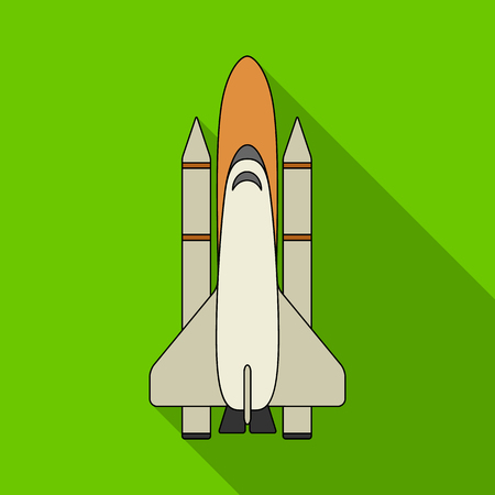 Delivery of the space shuttle.Space technology single icon in flat style vector symbol stock illustration .