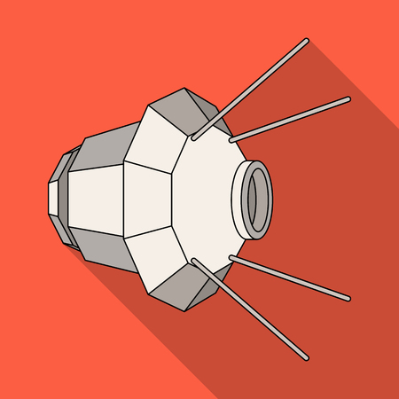 Artificial, space satellite of the Earth. Space technology single icon in flat style vector symbol stock illustration .