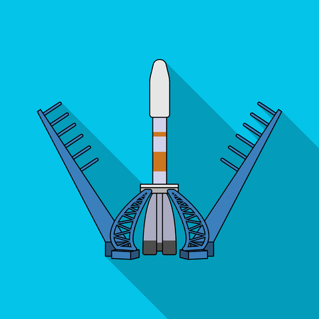 Launch of the spaceship. Space technology single icon in flat style vector symbol stock illustration .