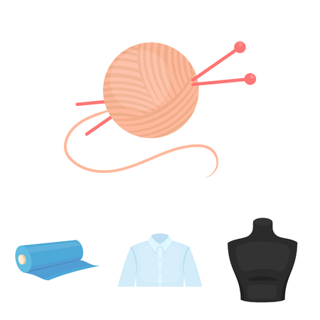 man's: A mans shirt, a mannequin, a roll of fabric, a ball of threads and knitting needles.Atelier set collection icons in cartoon style vector symbol stock illustration web. Illustration