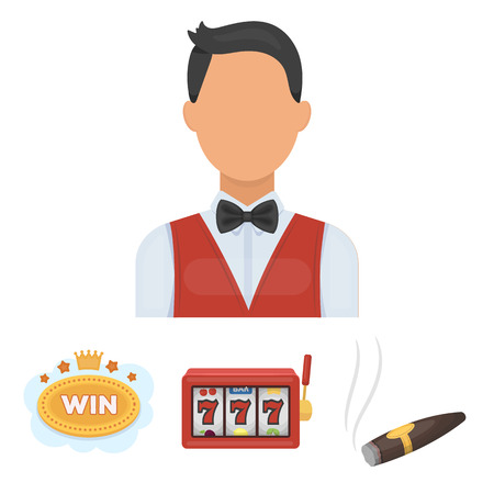 A gaming machine a one-armed bandit, a cigar with smoke, a five-star hotel sign, a dilettante in a vest. Casinos and gambling set collection icons in cartoon style vector symbol stock illustration web. Illusztráció