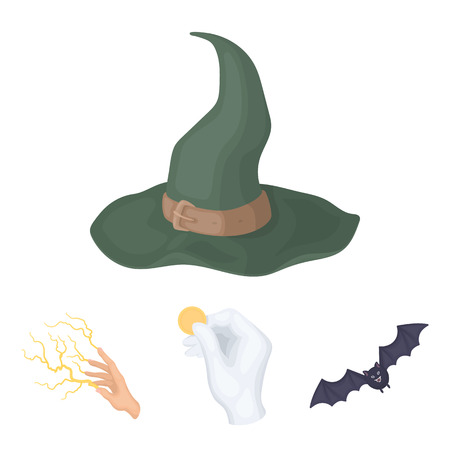 Focus with a coin, a bat, a mages hat, a lightning-fast spell.Black and white magic set collection icons in cartoon style vector symbol stock illustration web.