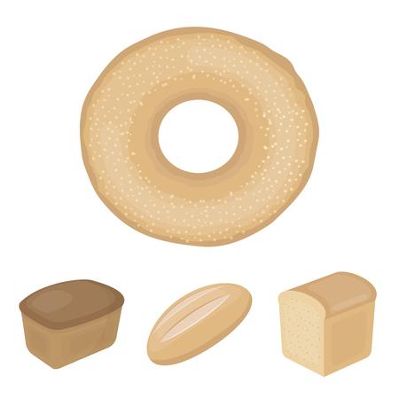 Loaf cut, bagel, rectangular dark, half a loaf. Bread set collection icons in cartoon style vector symbol stock illustration web.