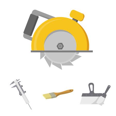 Brush, spatula, caliper, hand circular. Build and repair set collection icons in cartoon style vector symbol stock illustration web.