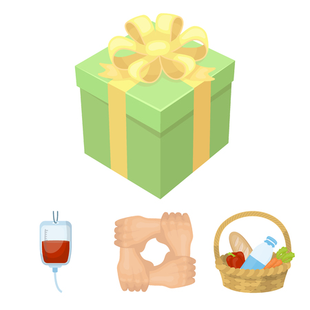 patronize: Gesture of the hands in support, a basket with food for charity, donor blood, a gift donation box. Charity and donation set collection icons in cartoon style vector symbol stock illustration web.