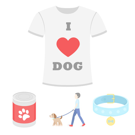 A man walks with a dog, a collar with a medal, food, a T-shirt I love dog.Dog set collection icons in cartoon style vector symbol stock illustration . Ilustração