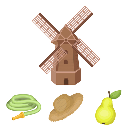Straw hat, pear with leaf, watering hose, windmill. Farmer and gardening set collection icons in cartoon style vector symbol stock illustration web.