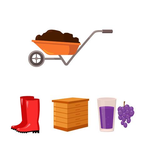 Hive, grapes, boots, wheelbarrow.Farm set collection icons in cartoon style vector symbol stock illustration web.
