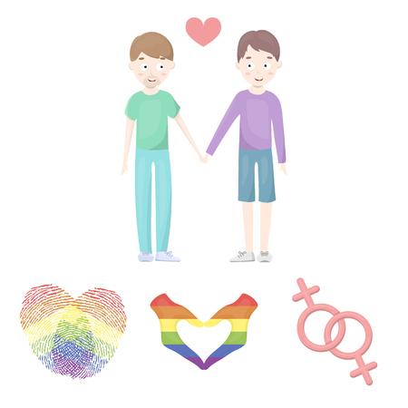 手、フェミニズム、指紋。ゲイ漫画スタイルのベクトル シンボル ストック イラスト web のコレクションのアイコンを設定します。