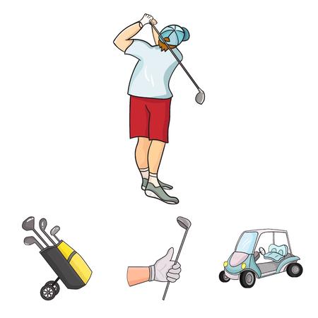 스틱, 골프 카트, 가방에 막대기로 트롤리 가방 막대기로 망치로 낀 사람과 gloved 손. 골프 클럽 세트 만화 스타일에서 컬렉션 아이콘 벡터 그림 주식 그 일러스트