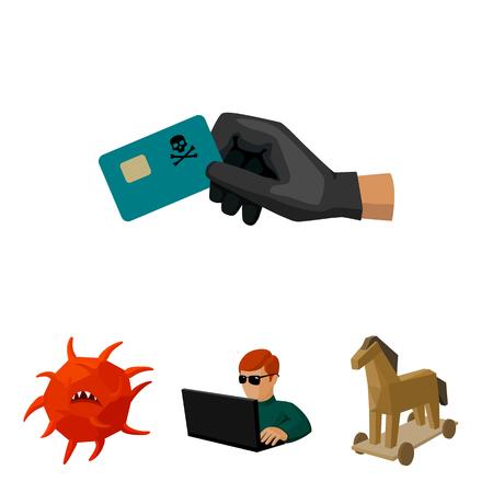 Hacker, hacking, sistema, internet. Gli hacker e l'hacking hanno messo le icone della raccolta nel web dell'illustrazione delle azione di simbolo di vettore di stile del fumetto.