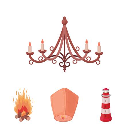 Een lichte lantaarn, een vuurtoren, een vuur, een kroonluchter met kaarsen. Lichtbron set collectie iconen in cartoon stijl vector symbool stock illustratie web.