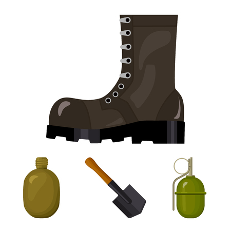Sapper blade, hand grenade, army flask, soldiers boot. Military and army set collection icons in cartoon style vector symbol stock illustration web.