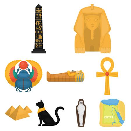 Ancient Egypt set pictogrammen in cartoon stijl. Grote verzameling van het oude Egypte vector symbool stock Stockfoto - 85321832